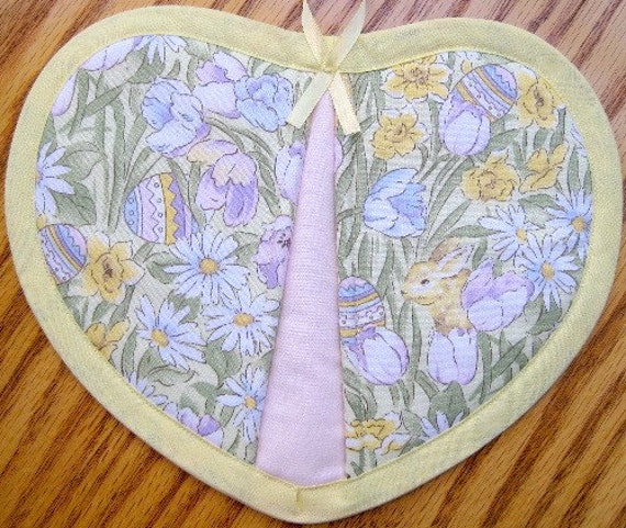 Pastel Flowers, Bunnies, and Eggs Potholders - Set of 2
