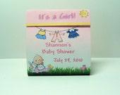 Baby Shower Tealight Candle Favor- Baby Girl- Clothline- Set of 25