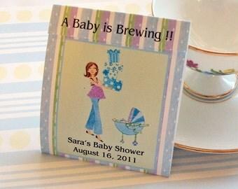 Mod Mom Baby Shower Teabag Favors- Blue
