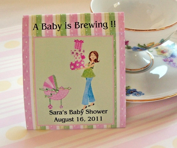 Baby Shower Teabag Favors- Pink Mod Mom - Set of 25
