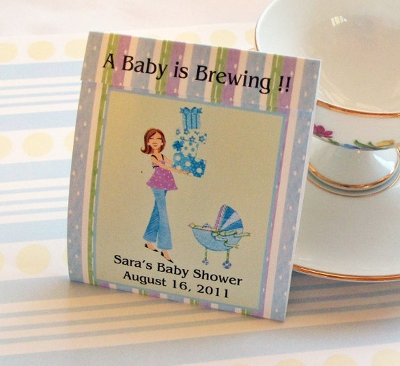 Mod Mom Baby Shower Teabag Favors- Blue