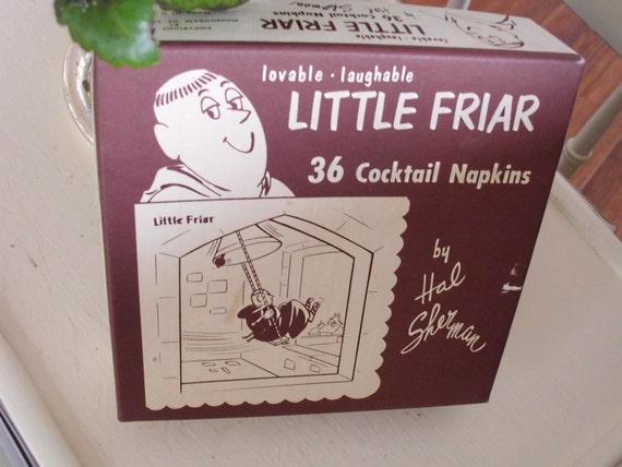 Vintage Little Friar Hal Sherman Cocktail Napkins