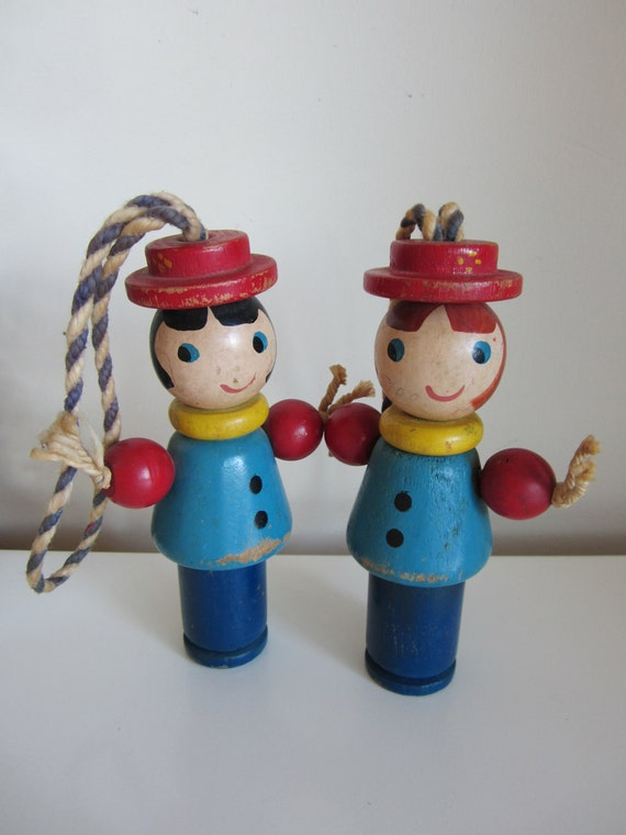 Pair of Vintage Wooden Dolls Two Sided  with Happy and Sleeping Faces