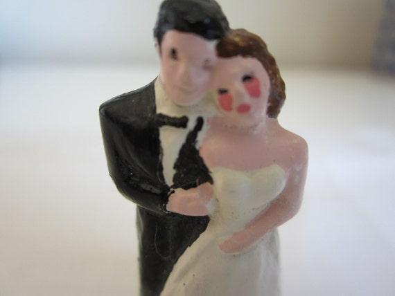 Vintage Tiny Wedding Couple Cake Topper