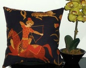 Vintage Fabric Medieval Asian Warrior Decorative Pillow