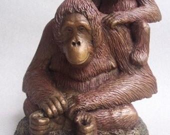 Princess and Pan Orangutan Sculpture