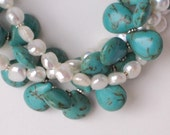 Turquoise Magnesite and Pearl Statement Necklace