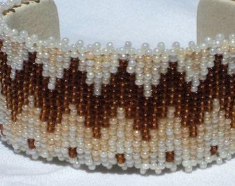 Mocha Latte Loomwork Southwest Cuff Bracelet