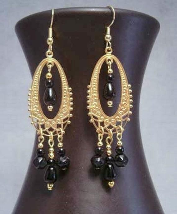 SALE....Midnight Chandelier Earrings
