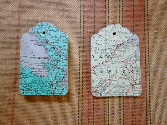 25 Vintage Map Ephemera Gift Tags