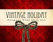Premade Etsy Shop Set, Banner, Avatar, Vintage Red Damask, Jewelry Bow, Wrapping Paper Vintage Holiday