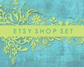 Aqua and Green Etsy Shop Set, Premade Banner, Avatar, Thank you, Reserved graphics, Green Blue Floral Grunge