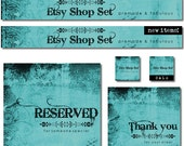Etsy Shop Set, Premade Banner Set, Avatar, Thank you graphic, Green Blue Aqua Turquoise Black Floral Grunge Set
