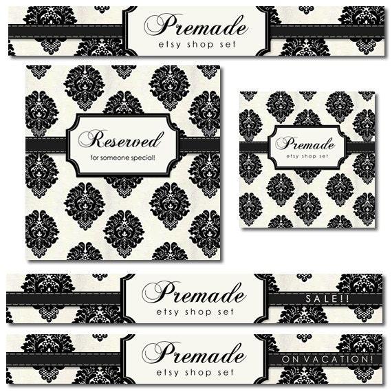 Premade Etsy Shop Set, Banner Set, Avatar, Elegant Cream Black Paris Chic Damask Graphics