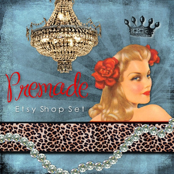 Etsy Shop Set, Premade Banner Set, Avatar, Thank you graphic, Vintage Grunge Pinup Diamond Jewelry leopard