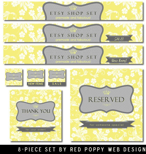 NEW Yellow Gray Etsy Shop Set includes store banners custom graphics avatars vintage label crown floral