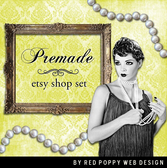 Vintage Flapper Etsy Store Banner Set, Premade Banner, Avatar, Thank you graphic, Yellow Damask Pearl Necklace Frame