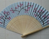 Cherry Blossom Folding Hand Fan in Light Blue