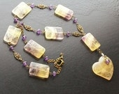 Lemon Drop-Fluorite heart gemstone necklace with amethyst and brass
