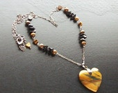 Tigers eye heart gemstone necklace -Must Love Cats(eye) -Golden Sand, Blue, Rust, Black on Gunmetal