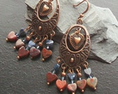 Poppy jasper and sodalite hearts gemstone chandelier earrings-Gifted at the 2012 Academy Awards-Oscar's Copper Dreams-Denim Blue and Orange