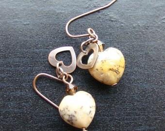 Moss opalite heart gemstone earrings -Sweet-n-Simple 101