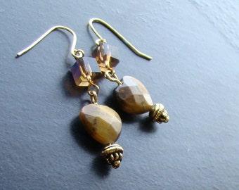 Tigers eye heart gemstone earrings -Sweet-n-Simple 117