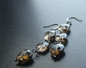 Smoky quartz heart gemstone earrings-Where There's Smoke-Tan, Silver, Faceted
