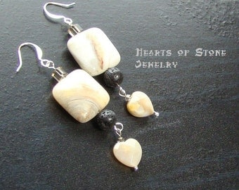 Agate heart gemstone earrings with crazy lace agate squares -Crazy Love-Cream, Orange, Red, Black, Off White on Silver