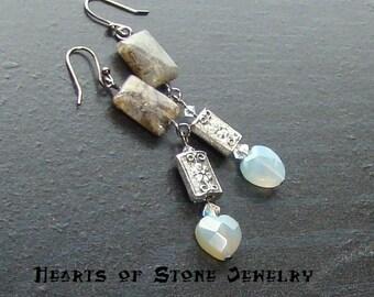 Agate heart gemstone earrings with labradorite -Dragon Heart