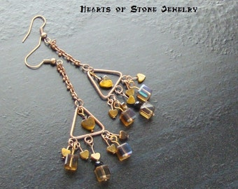 Tigers eye heart gemstone chandelier earrings with Swarovski AB cubes -Googly Eyes-Copper, Bronze, Tan, Golden