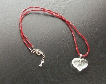 Clear Quartz Heart Gemstone Simple Choker, Clear Quartz on Red Leather