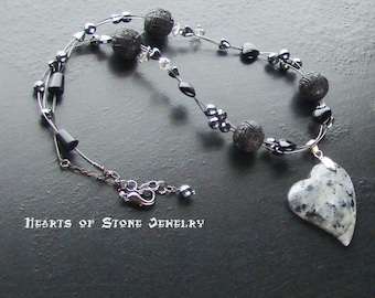 Larvakite heart gemstone necklace with hematite, onyx and cinnabar -Fire and Ice-Lt Gray, Dark Gray, Charcoal, Black on Gunmetal
