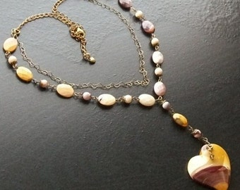 Mookaite heart gemstone necklace with mookaite ovals and brass -Autumnal Ombre -Burgundy, Cream, Ochre on Brass