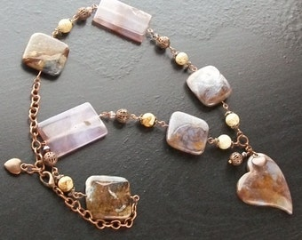 Pietersite gemstone heart necklace with agate and picture jasper -Copper Highlights -Brown, Tan, Russet, Cream, Rust on Copper