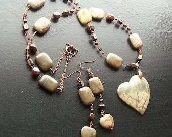 Picasso jasper and poppy jasper gemstone necklace set -Winter's Forest -Teal, Tan, Brown, Cream on Copper