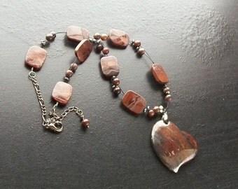 Red tiger eye and hematite gemstone heart necklace -Chocolate Kiss -Deep Red, Burgundy on Gunmetal