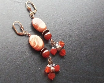 Carnelian heart gemstone earrings with rainbow jasper -Carnelian Commotion