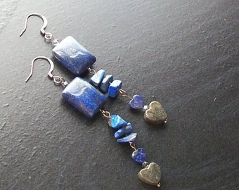 Pyrite and lapis lazuli heart gemstone earrings -Denim Dreams -Denim Indigo Blue, Gray, Ore on Gunmetal