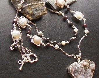 Geode druzy heart gemstone necklace, with geode druzy beads and tourmaline-Sparkle Plenty-Burgundy, Cream, Brown on Slver