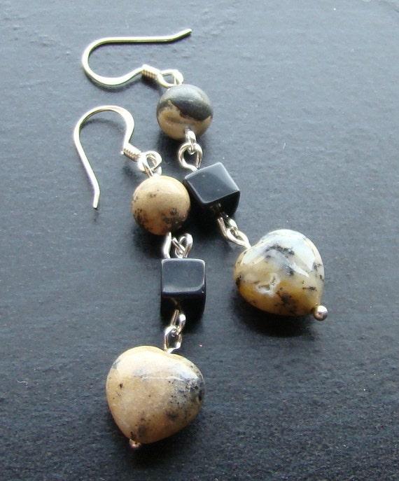 Moss opalite heart gemstone earrings -Sweet-n-Simple 100-Black, White, Tan, Silver