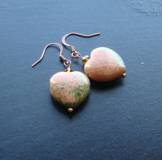 Unakite heart gemstone earrings -Sweet-n-Simple 108 -Peach, Salmon, Grassy Green on Copper