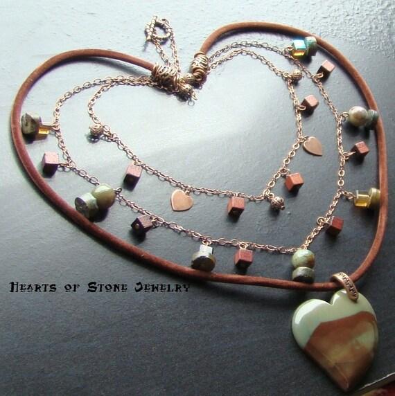 Free Spirit -Succor creek jasper heart gemstone choker