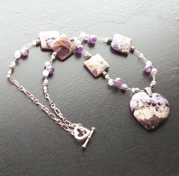 Amethyst heart gemstone necklace -My Amethyst Valentine