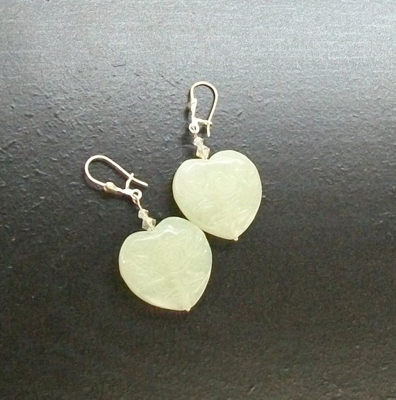 Hua Jade gemstone heart earrings -Love is Never Jaded -Pale Mint Green on Silver