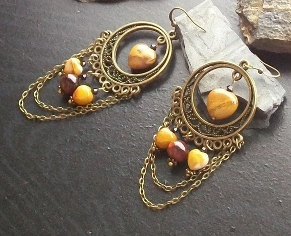Mookaite jasper gemstone hearts chandelier earrings-As Gifted to the Press at the 2012 Academy Awards-Oscar Loves the Press (Mustard)