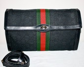 Reserved..................... Vintage AUTHENTIC GUCCI Monogram Black Leather Stripe Convertible Clutch