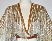 Reserved................................   AMAZING Vintage HALSTON Heavily Beaded Sequins Fringe Formal Wrap Top Blouse