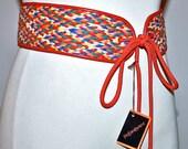 Vintage YVES SAINT LAURENT Belt Woven Multi Color Corset Sash -Deadstock -