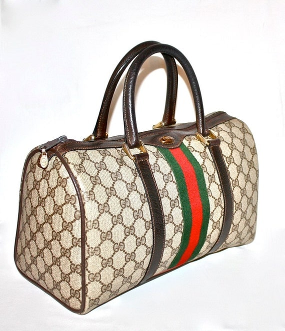Gorgeous VINTAGE GUCCI Large Brown Monogramed Classic Speedy Tote